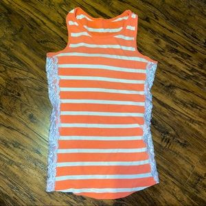 Peachy Stripe Laced Tank Top